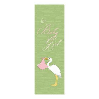 Tag magro do presente da menina da cegonha cartões de visitas