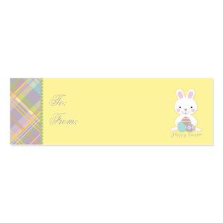 Tag magro do presente do coelho da xadrez cartões de visitas