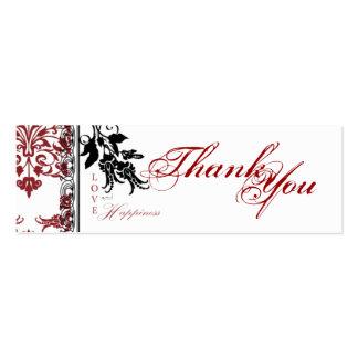 Tag magro vermelho do presente de brocado TY Cartão De Visita Skinny