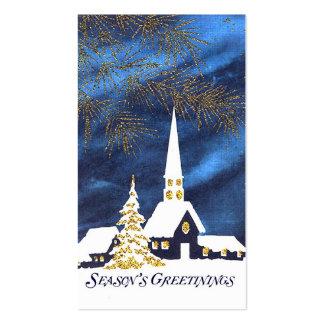 Tag nevado do presente do Natal da igreja Cartão De Visita