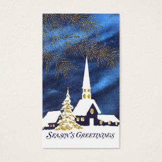 Tag nevado do presente do Natal da igreja Cartão De Visitas