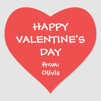 Tag personalizado do presente do coração namorados adesivo coração