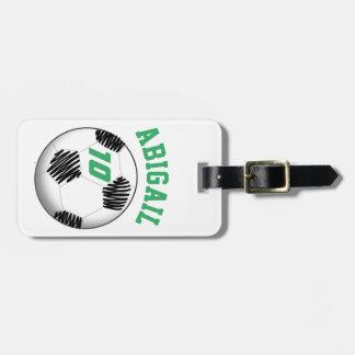 Tag personalizado do saco do futebol etiqueta de mala
