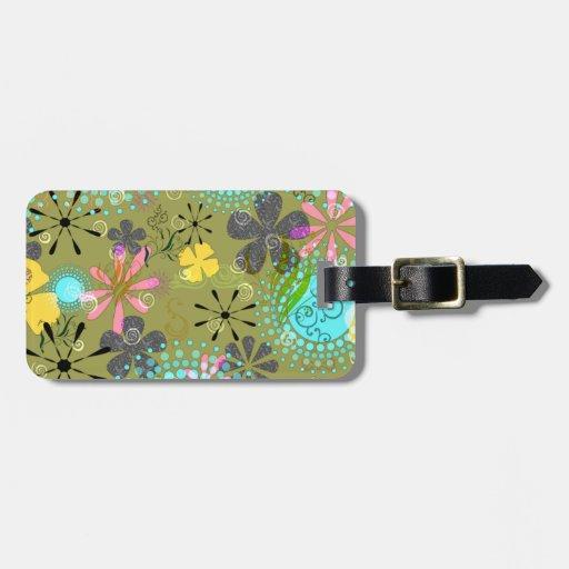 Tag personalizado floral retro da bagagem etiqueta de mala