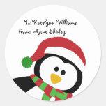 Tag personalizados do presente do Natal pinguim Adesivos Redondos