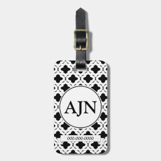 Tag preto e branco da bagagem do monograma tags de mala
