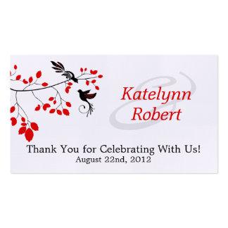 Tag romances vermelhos do favor do casamento cartão de visita