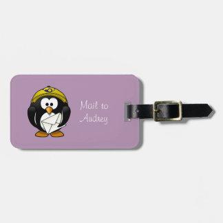 Tag roxo da bagagem do carteiro do pinguim tag de bagagem
