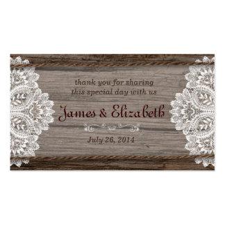 Tag rústico do favor do casamento do celeiro cartoes de visita