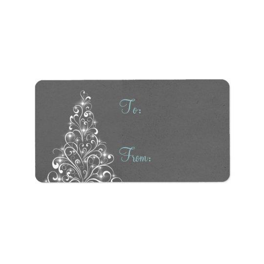 Tag Sparkly do presente da árvore do feriado, Etiqueta De Endereço