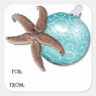 Tag tropical do presente do Natal da estrela do Adesivo Quadrado