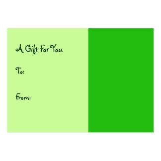 Tag verdes do presente cartão de visita grande