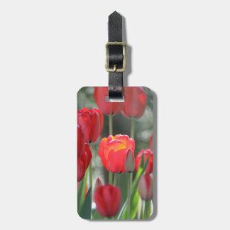 Tag vermelho da bagagem das tulipas personalizado etiqueta de bagagem
