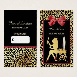 Tag vermelho do cair do salão de beleza do arco do cartão de visitas