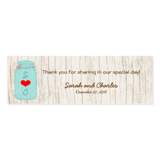Tag vermelhos & da hortelã de pedreiro do frasco d cartões de visitas