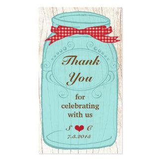 Tag vermelhos do favor do frasco de pedreiro do cartão de visita