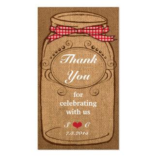 Tag vermelhos do favor do frasco de pedreiro do gu modelos cartões de visita