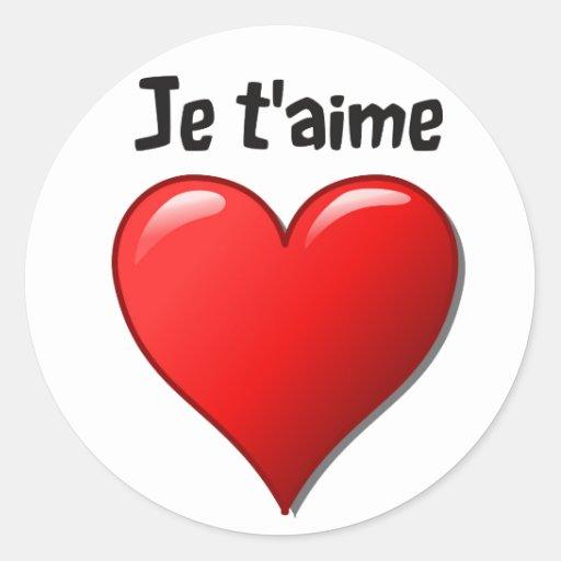 T'aime de Je - eu te amo em francês Adesivo Redondo