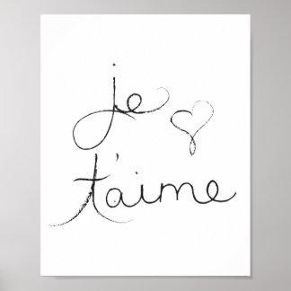 """T'aime de Je - """"eu te amo"""" em inglês - poster"""