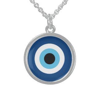 Talismã do olho mau colar de prata esterlina