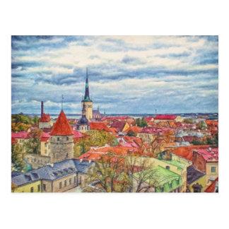 Tallinn Estónia pelo Mac de Shawna Cartão Postal