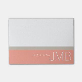 Tan branco e listra cor-de-rosa apenas um bloquinho de notas