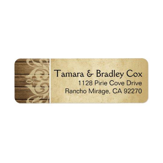 Tan filigrana de madeira rústico do marrom de | etiqueta endereço de retorno