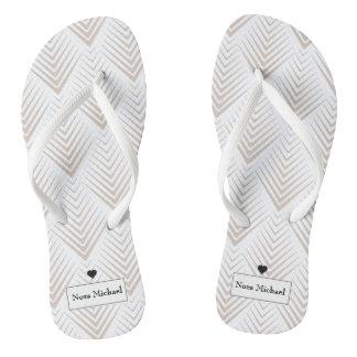 Tan personalizado & chinelos brancos