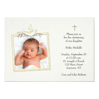 Tan, pomba branca, cartão com fotos religioso convite personalizados
