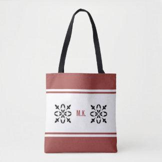 Tan vermelho do ocre do monograma com preto no bolsa tote