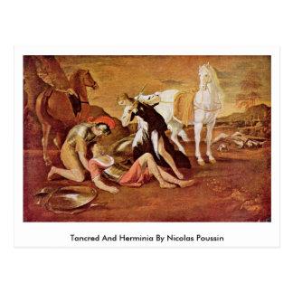 Tancred e Herminia por Nicolas Poussin Cartão Postal
