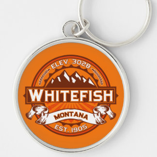 Tangerina do logotipo do peixe branco chaveiro redondo na cor prata
