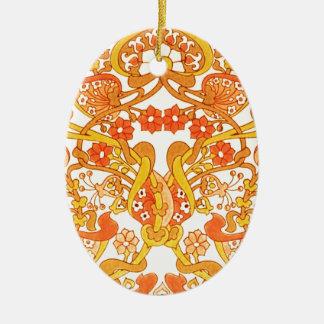 Tangerina retro dos anos 60 do vintage ornamento de cerâmica oval