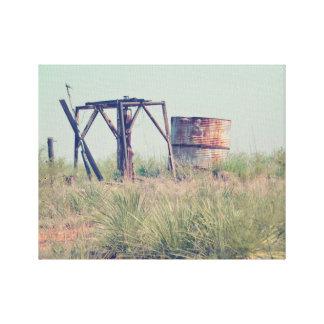 """Tanque de água velho 14"""" da fazenda x 11"""", 1,5"""", impressão em tela"""