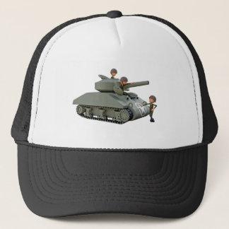 Tanque e soldados dos desenhos animados na boné