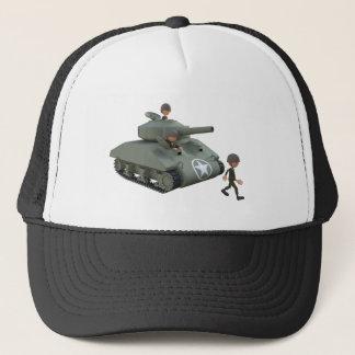 Tanque e soldados dos desenhos animados que vão boné
