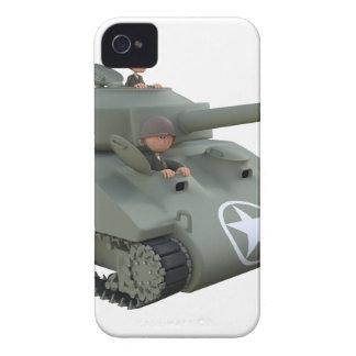 Tanque e soldados dos desenhos animados que vão capa para iPhone 4 Case-Mate