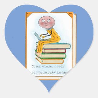 Tão muitos livros a escrever adesivo coração