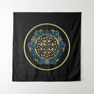 Black Celtic Knot Mandala Wall Tapestry