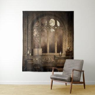 Tapeçaria da parede da janela gótico da biblioteca