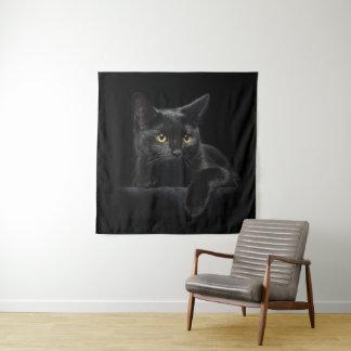 Tapeçaria da parede do quadrado do gato preto