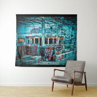 Tapeçaria de construção abandonada arte da rua dos