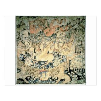 Tapeçaria dos cervos voados por Jean Fouquet Cartão Postal