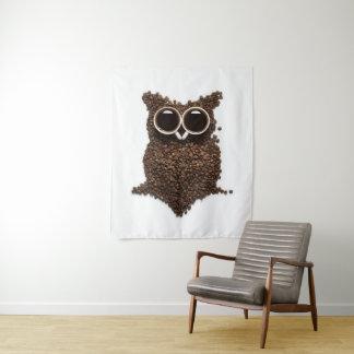 Tapeçaria média da parede da coruja do café