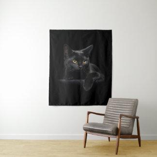 Tapeçaria média da parede do gato preto