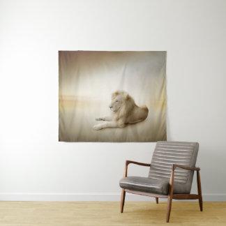 Tapeçaria média da parede do leão branco