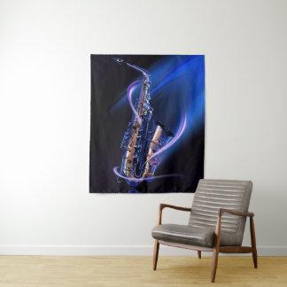 Tapeçaria média da parede do saxofone azul