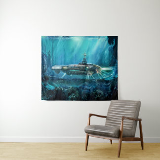 Tapeçaria média submarina da parede de Steampunk