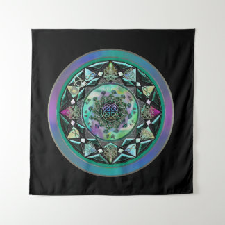Green Celtic Mystical Mandala Wall Tapestry