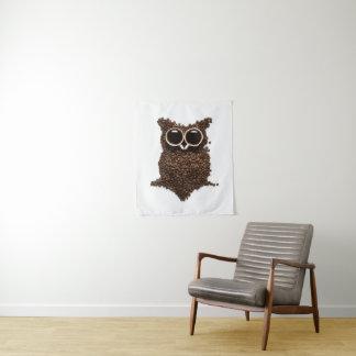 Tapeçaria pequena da parede da coruja do café